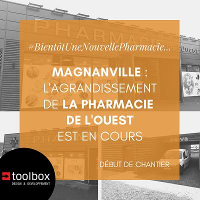 Magnanville : l'extension de la pharmacie de l'Ouest à est en cours de construction